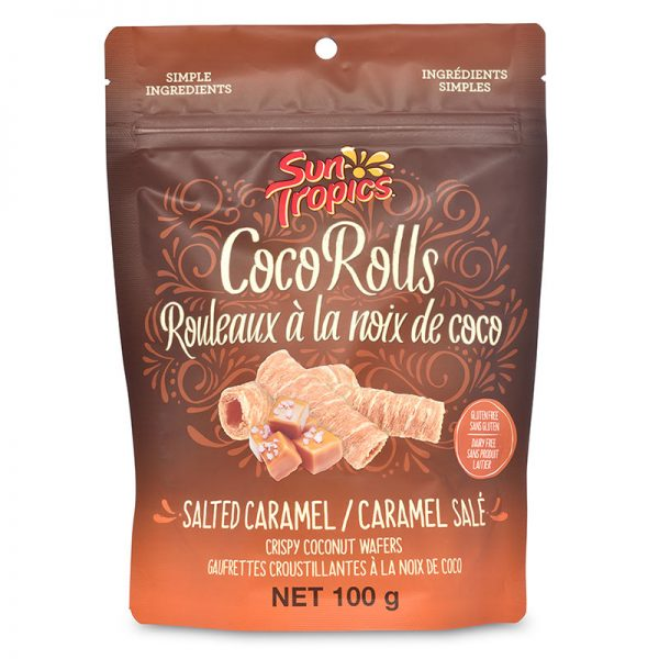 a bag of salted caramel CocoRolls from Sun Tropics