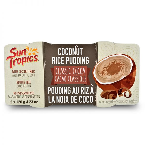 a package of classic cocoa coconut rice pudding from Sun Tropics