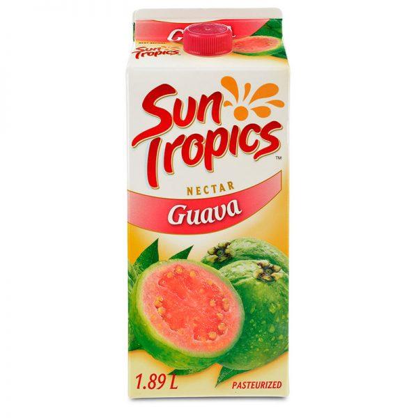 a carton of Sun Tropics Guava nectar