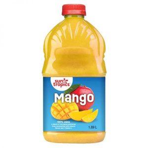 a jug of Sun Tropics Mango 100% Juice