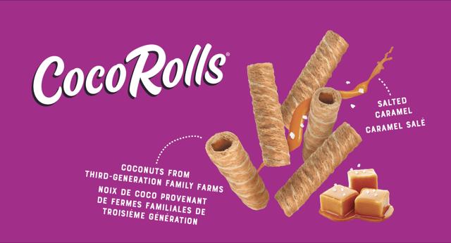 CocoRolls - coconut from third-generation family farms (noix de coco provenant de permes familiales de troisieme generation) salted caramel (caramel salè)