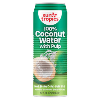 a can of 100% coconut water with pulp