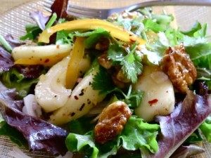 Pear Salad with Calamansi Salad Dressing and Palm Sugar Candied Walnut