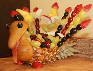 Fruit Turkey Side View 300x228 Make Your Own Fruit Turkey!