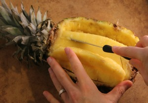 Pineapple Angled Incisions 300x209 Make Your Own Fruit Turkey!