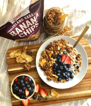 a gorgeously delicious and healthy breakfast made from granola and Sun Tropics banana chips