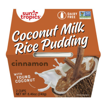 a container of Suntropics Coconut Milk rice Pudding cinnamon