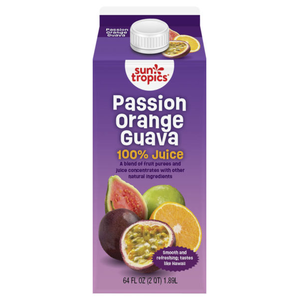 carton of SunTropics Passion Orange Guava 100% juice