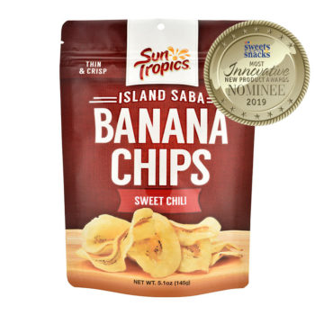 SunTropics sweet chili banana chips, nominee for the 2019 innovative new product award at the sweets and snacks expoSunTropics sweet chili banana chips, nominee for the 2019 innovative new product award at the sweets and snacks expo