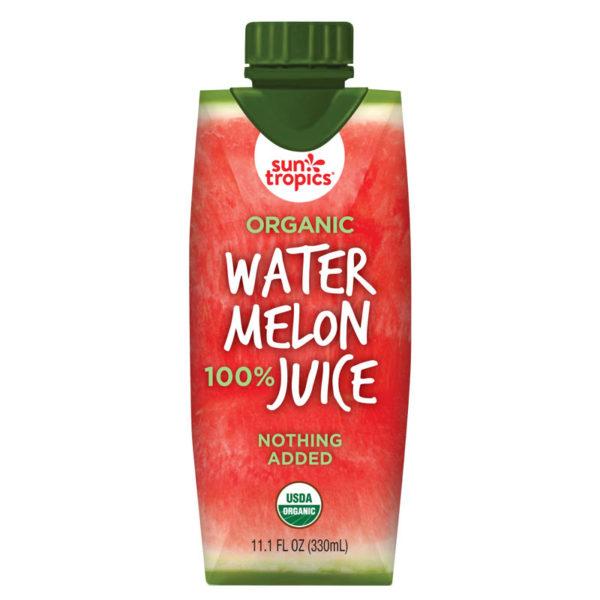 a carton of Suntropics Organic Watermelon juice